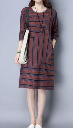 New women loose one size fit dress maxi ethnic stripes pocket tunic robe fashion - Women Robes - Ideas of Women Robes Designer Kurtis, Designer Dresses, Simple Dresses, Casual Dresses, Fashion Dresses, Batik Fashion, Ethnic Fashion, Batik Dress, Daily Dress