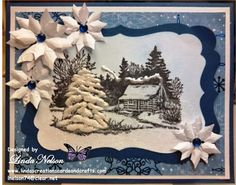 snowy cabin in the woods stamped card - Google Search