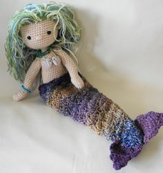 Crocheted mermaid doll with removable tail free pdf patterns in both U.K. and U.S. excellent blogger :)