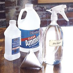 Glass/Window Cleaner :  2 c. water, 2 c. rubbing alcohol, 1/2 c. amonia