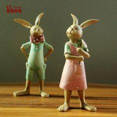 Американские украшения Village украшения смолы милая пара творческой идеи подарков кролик кукольные украшения украшения - Taobao