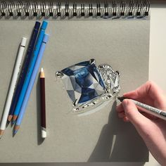 """2,842 Likes, 50 Comments - Phoebe Atkey (@phoebeatkey) on Instagram: """"Attempting to draw a beautiful sapphire @officialfaberge ring #art #drawing #pen #pencil #ring…"""""""