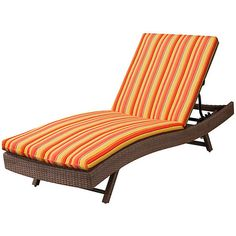 """Sun Lounger Cushion 76""""x23-1/2""""x3"""" - Valencia Orange Stripe ($95) ❤ liked on Polyvore featuring home, outdoors, outdoor decor, outdoor accent pillows, patio decor, outdoor patio decor and outdoor patio pillows"""