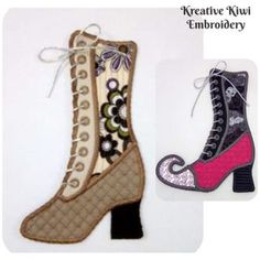In the hoop Tissue Holder Applique Machine Embroidery Design Free Machine Embroidery Designs, Applique Designs, Embroidery Patterns, Easy Crafts To Sell, Witch Boots, Vintage Boots, Halloween Design, Designer Boots, Sewing