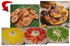 banana chips | banana cinnamon rolls | colorful peppers ready for dehydrating! See more at www.easy-food-dehydrating.com