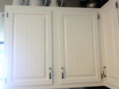 """beadboard wall paper to cover """"ick"""" cabinets?"""