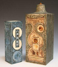 St Ives, Cornwall - mid century Vases, Troika Pottery