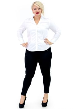 Plus Size Pull On Ponte Pants with V-Neck Long Sleeve Button Down White Shirt | Danice Stores
