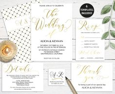 Gold Wedding Invitation Set Printable Calligraphy Invitation