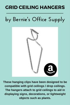 Click to open expanded view      Ceiling Hooks by Bernie's Office Supply - 100 Pack of Suspended Ceiling Hangers - Grid Ceiling Clips for Decorating Your Office, School, and Home - Essential Teacher Supplies for Classroom