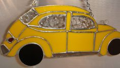 A Yellow VW Bug in Stained Glass For Mary by GlassPaperRocks, $69.00