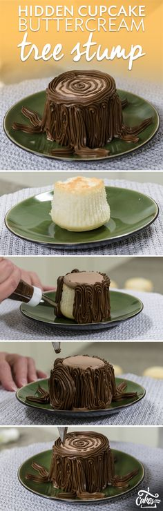 Surprise - there's a cupcake hidden inside this buttercream treat stump.