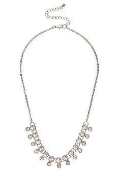 Layered rhinestone statement necklace (original price, $14) available at #Maurices
