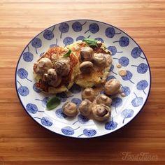 Basil potato pancakes and mushroom sauce on Food-Tuner.com