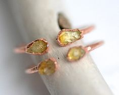 READY to SHIP. Copper Electroformed Raw Citrine Ring. Open Front Adjustable Citrine Ring. Citrine ring. Citrine Crystal Meaning, Crystal Meanings, Citrine Ring, Gold Rings, Copper, Stud Earrings, Stone, Crystals, Detail