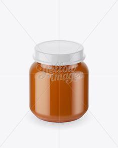 Baby Food Carrot Puree Small Jar Mockup (High-Angle Shot)