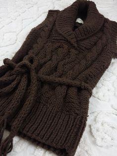 Kenji Handknit Sweater sz M Brown Chunky Cable Sleeveless Lagenlook Boho  #Kenji #Sweater