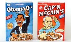 Les composants Le contenant : Les matériaux sont classiques, la forme ressemble elle aussi à un paquet de céréales commun. Le décor : Le décor est le point clé de ces paquets, on retrouve Obama sur l'un d'eux avec la couleur du bleu des démocrates américains et Mc Cain entouré de rouge pour les républicains.