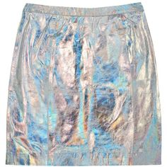RAINBOW CONNECTION SKIRT (€155) ❤ liked on Polyvore featuring skirts, bottoms, metallic, knee length leather skirt, leather zipper skirt, zipper skirt, holographic skirt and metallic leather skirt