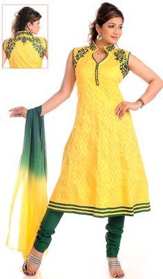 G3 fashions Yellow Green Cotton Wedding Wear Designer Salwar Suit  Product Code : G3-LSA104656 Price : INR RS 3990