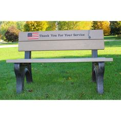 Outdoor Polly Products Veterans Bench Brown Weathered Wood - ASM-VET8B-BN/WW