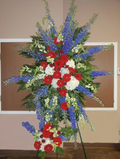 red white and blue floral wreaths | ... with this patriotic red white and blue easel spray price $ 450 00 qty