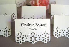 100 Custom Printed Eyelet Flower Edge / Wedding Placecards, Reception, Escort Cards, Rehearsal Dinner, Elegant