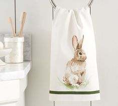 Pasture Bunny Guest Towel | Pottery Barn