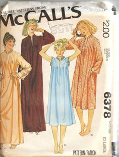 Vintage+Nightgowns+for+Women | Vintage 1978 Misses Nightgown and Robe Pattern McCalls 6378 Size Ex ...