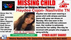 """12 Likes, 1 Comments - JFCWOV (@justice_for_children_wo_voices) on Instagram: """"❤️Haydee Cojon- Nashville TN has been safely located!! Thank you all!!!! 💙 #HaydeeCojon #Nashville…"""""""