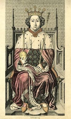 """Portrait of Richard II, full-length, facing the viewer, holding his sceptre and his orb, seated on a throne, with a small beard and moustache and a crown over his curling hair, dressed in an ermine-lined mantle with a jewelled collar over a robe embroidered with flowers and crowned 'R's; illustration to Carter's """"Specimens of ancient Sculpture and Painting"""" (1786) Hand-coloured etching  © The Trustees of the British Museum"""