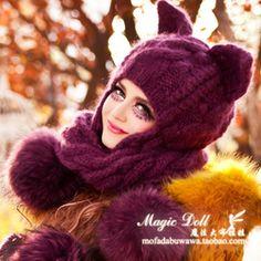 魔法大布娃娃冬天时尚大毛球护耳辫子围巾紫色猫耳恶魔角毛线帽子