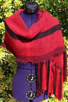 Étole en laine, écharpe tissée main, écharpe tour de cou tons rouge bordeaux noir