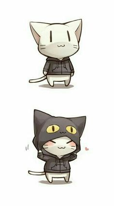 Chibi Neko with Cat Hood ! Anime Chibi, Anime Kawaii, Chat Kawaii, Kawaii Cat, Kawaii Chibi, Cute Chibi, Manga Anime, Anime Art, Chibi Cat
