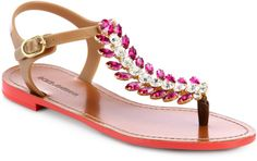 Dolce & Gabbana Pink Feather Jeweled Tstrap Sandals