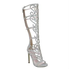 Chelsea Gold Silver Rhinestones Sandal Knee high Open toe Boots ($50) ❤ liked on Polyvore featuring shoes, boots, heels, heel boots, silver boots, sexy boots, knee high heel boots and silver prom shoes