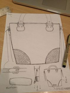 Steve Madden inspired Handbag Original sketch. (summer '12 quarter)