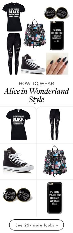 """""""little miss sassy mouth"""" by dress-me-goth on Polyvore featuring WithChic, Casetify, Converse and Disney"""