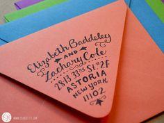 Mail Art Return Cool way to sign your address on an envelope - Elizabeth Baddeley Wedding Invitations Calligraphy Envelope, Envelope Art, Envelope Design, Calligraphy Fonts, Script Fonts, Envelope Labels, Fun Fonts, Envelope Lettering, Calligraphy Alphabet