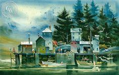 The Fishing Dock, Deer Isle Maine, c. Watercolor Deer, Arches Watercolor Paper, Watercolor Landscape, Watercolor Paintings, Watercolors, Deer Isle Maine, Karla Gerard, Green Paintings, Lake Art