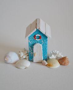 Handmade Miniature Driftwood Beach Hut Blue & by HSDesignsCornwall