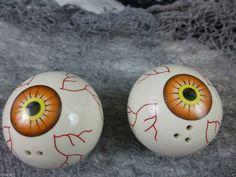 Halloween Salt and Pepper Shakers Blood Shot Eyeballs Ceramic Orange  Prop New