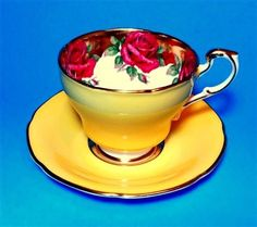 Rare Huge Rose Border on Gold with Yellow Exterior Paragon Tea Cup and Saucer Se