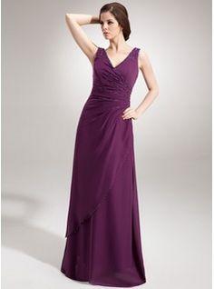 A-Line/Princess V-neck Floor-Length Chiffon Evening Dress With Ruffle Beading Sequins (017020666) - JJsHouse