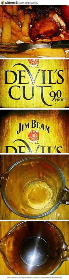 """Tex's Devil's Cut Bourbon BBQ Sauce! """"Great on all kinds of meat and poultry. Makes approximately 150ml (¼ pint)""""  @allthecooks #recipe ❤ DiamondB! Pinned ❤"""