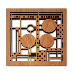 This design is an adaptation from a section of the colorful art glass window triptych found in the Coonley Playhouse, designed by Frank Lloyd Wright. Details Wood color: Cherry Dimensions: 7.5 inches