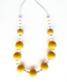 Mustard necklace Mustard Statement necklace for women Black and White necklace Mustard Chunky necklace Large chain necklace Mustard jewelry