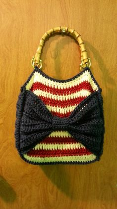 #Crochet American Flag Themed Handbag Purse #TUTORIAL