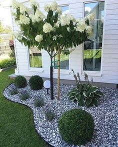 Simple, easy and cheap DIY garden landscaping ideas for front yards and backyard. - Simple, easy and cheap DIY garden landscaping ideas for front yards and backyard… – Сад – - Small Backyard Landscaping, Landscaping Design, Corner Landscaping Ideas, Landscaping With Rocks, Landscaping Front Of House, Landscaping With Gravel, Cheap Landscaping Ideas For Front Yard, Modern Landscaping, Acreage Landscaping