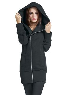 Long Zip Up Hoodie Womens | Fashion Ql
